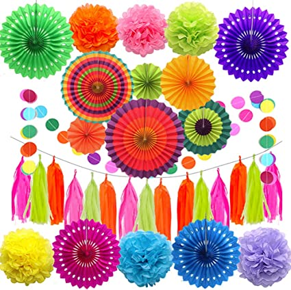 MultiColor 6x Paper Fan Flowers Wedding Birthday Party Tissue Paper Table Decor