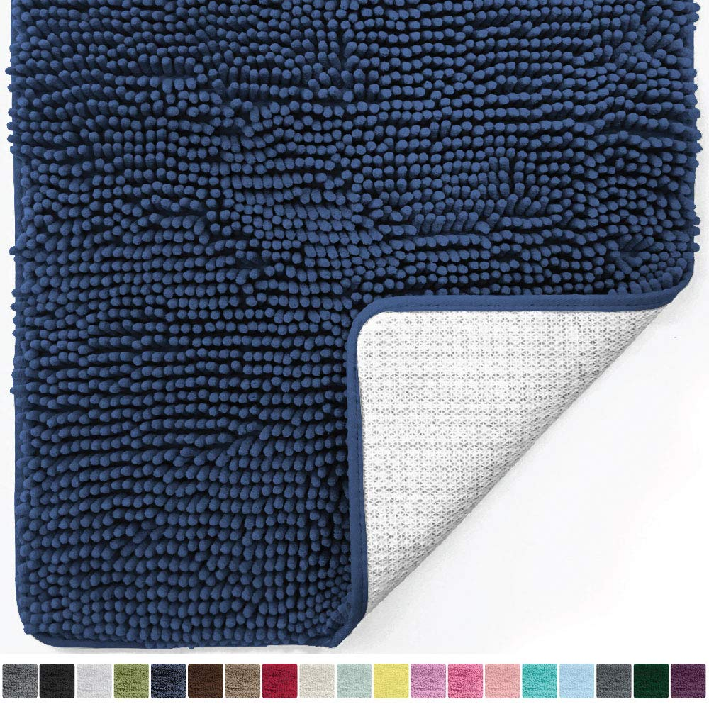 Gorilla Grip Original Luxury Chenille Bathroom Rug Mat, 24x17, Extra Soft and Absorbent Shaggy Rugs, Machine Wash Dry, Perfect Plush Carpet Mats for Tub, Shower, and Bath Room, Navy