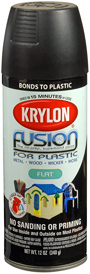 Krylon K02519007 Fusion for Plastic Aerosol Spray Paint, 12-Ounce, Flat  Black