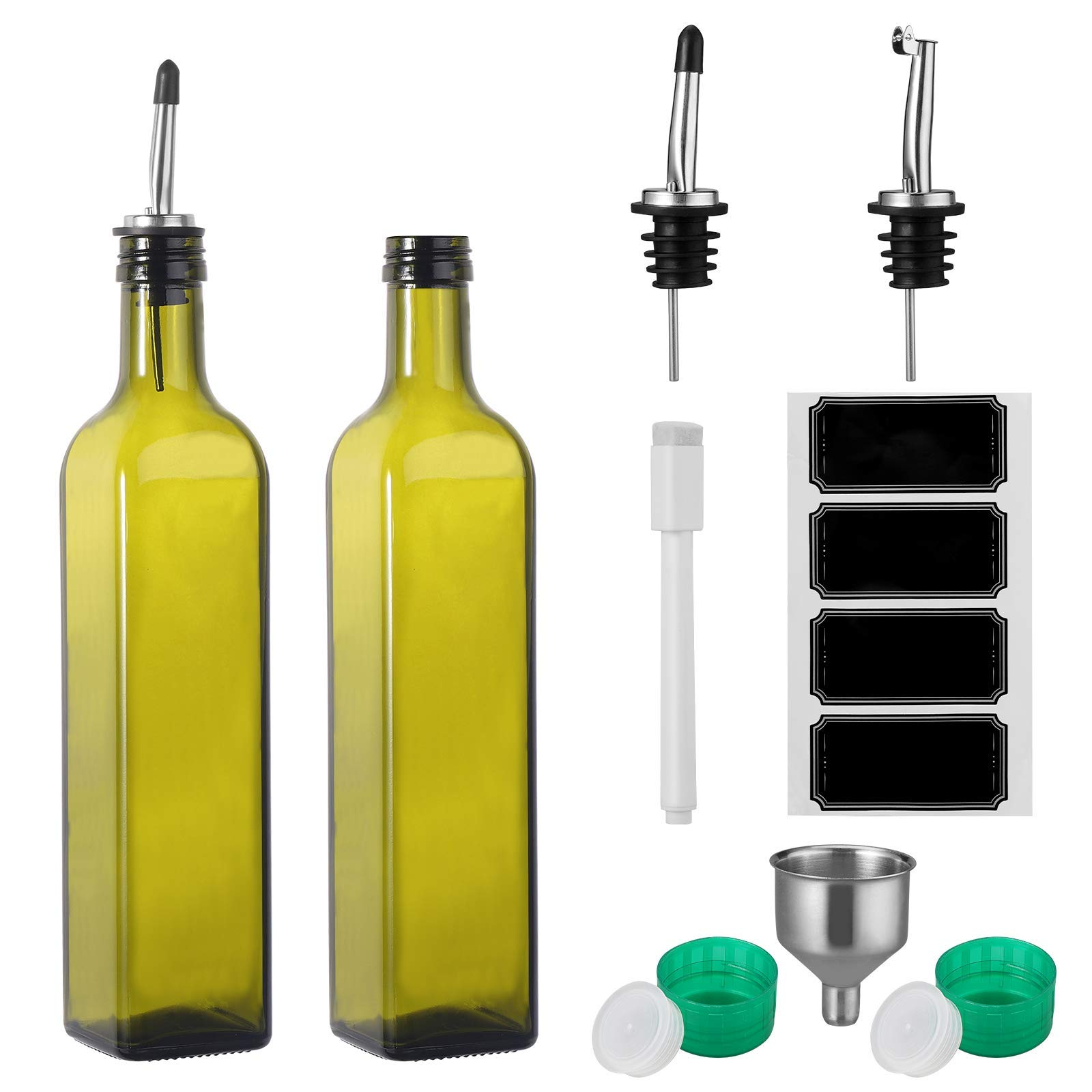 Olive Oil Dispenser 2 Pack of 17 oz. Glass Bottles and Pourer Spout Set for Kitchen - Oil & Vinegar Cruet/Decanter with Funnel, 4 Chalkboard Labels & Marker - Use One, Have One Ready On Standby by Ultimate Hostess