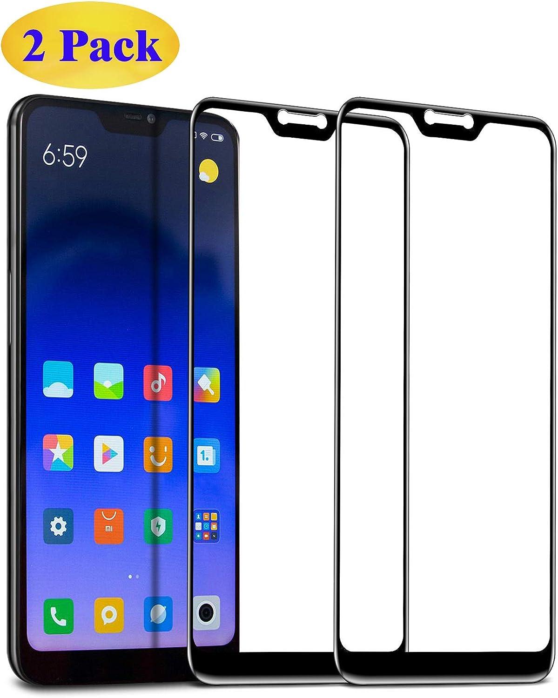 Eachy Cristal Templado Xiaomi Mi A2 Lite Vidrio Templado, [2 Unidades] Protector de Pantalla Xiaomi Mi A2 Lite Cobertura Completa 5,84 Pulgadas-Negro