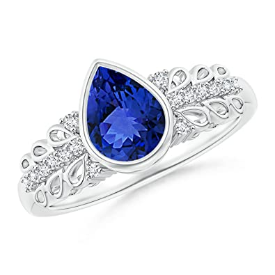 Angara Pear Motifs Tanzanite and Diamond Vintage Carving Ring in Platinum 1JuPJ0zF9