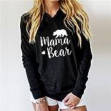 FULLIN Casual Hoodie Sweatshirt Women Lightweight Mama Bear Printing Long Sleeves Hoodies Tops,S