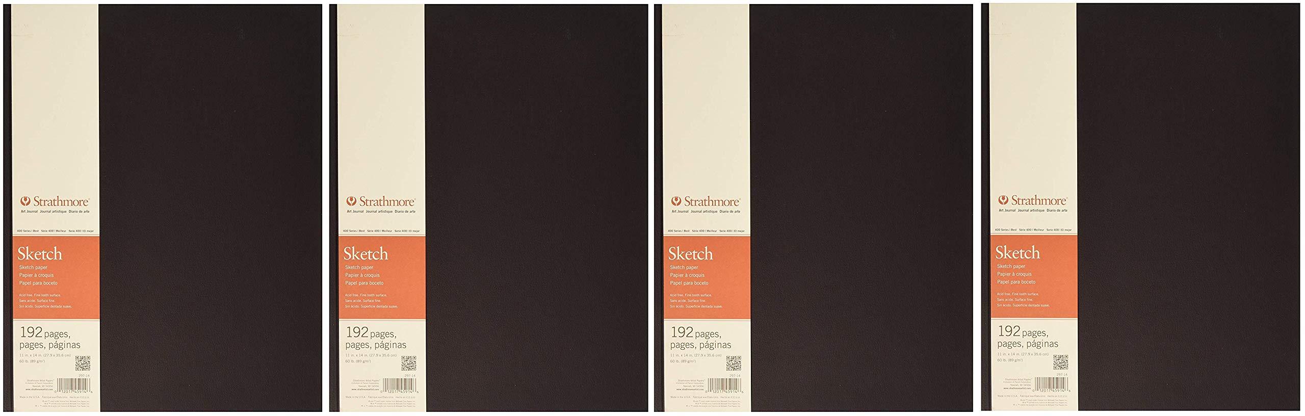 Strathmore 297-14 400 Series Hardbound Art Journal Sketch, 11''x14'', 96 Sheets (4-(Pack))