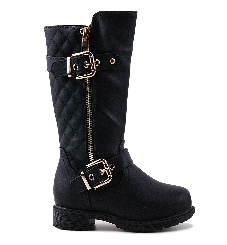 CC Little Girls Knee High Flat Riding Boots Shoes