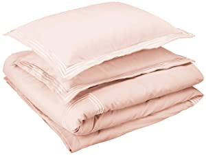 AmazonBasics Embroidered Hotel Stitch Duvet Cover Set - Premium, Soft, Easy-Wash Microfiber - King, Blush Pink