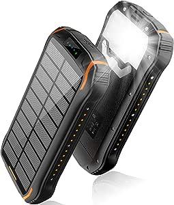 elzle Cargador Solar 26800mAh, Solar Power Bank 15W (5V / 3A) Salida de Carga rápida Resistente al Agua con Dos Salidas USB 3.1A y una Salida Type-C y Linterna LED para iOS,