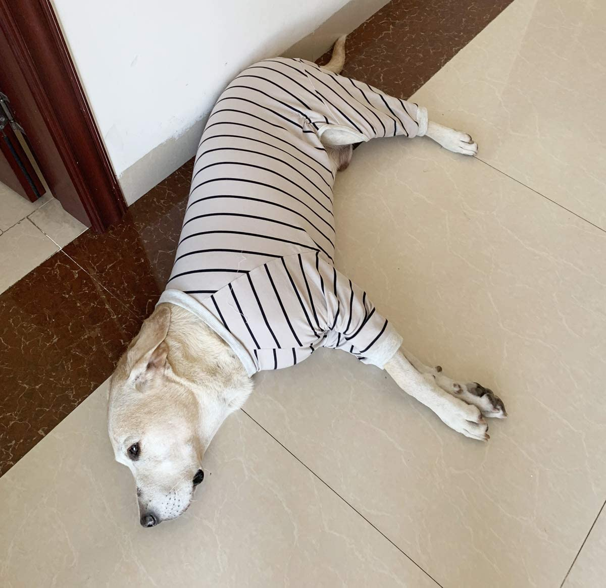 BT Bear Large Dog Clothes Grey Elastic Classic Striped Pet Clothes Protect Joints Anti-Hair Four-legged Dog Pajamas Dog Jumpsuit For Medium Dogs Large Dogs Labrador