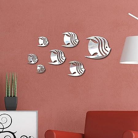 Masterein 7pcs 3D Fish Wall Stickers DIY Mirror Wall Art Decal ...