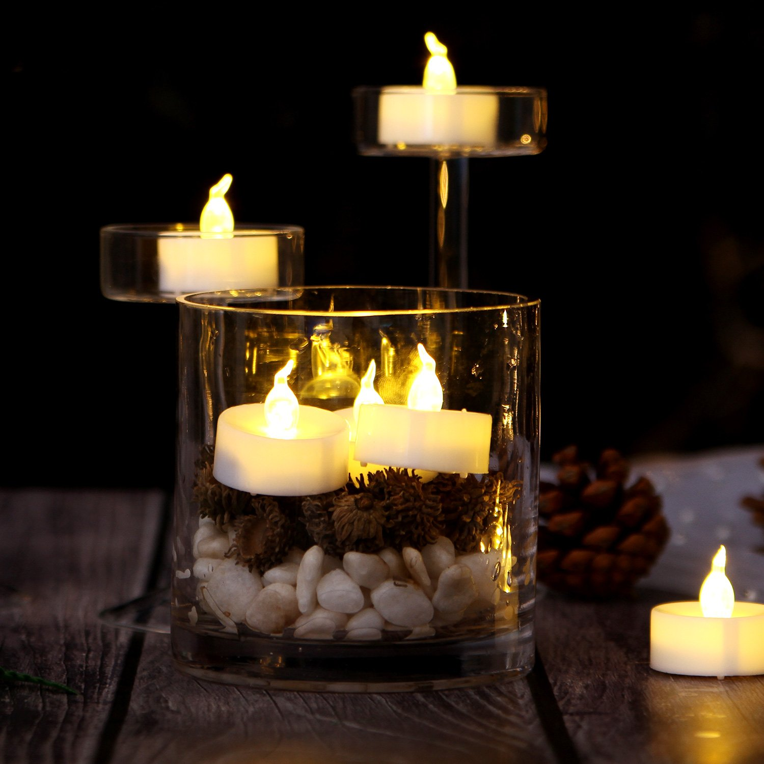 AGPtEK Timer Flickering LED Tealights Candles Battery-Operated Flameless Tealights for Wedding Holiday Party Home Decoration 24pcs(Warm White) by AGPTEK (Image #3)