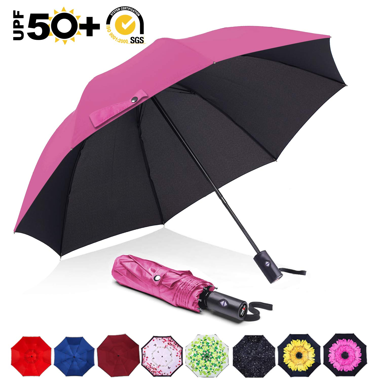"CDM product ABCCANOPY Umbrella Compact Rain&Wind Teflon Repellent Umbrellas Sun Protection with Black Glue Anti UV Coating Travel Auto Folding Umbrella, Blocking UV 99.98%,39"",Peach pink big image"