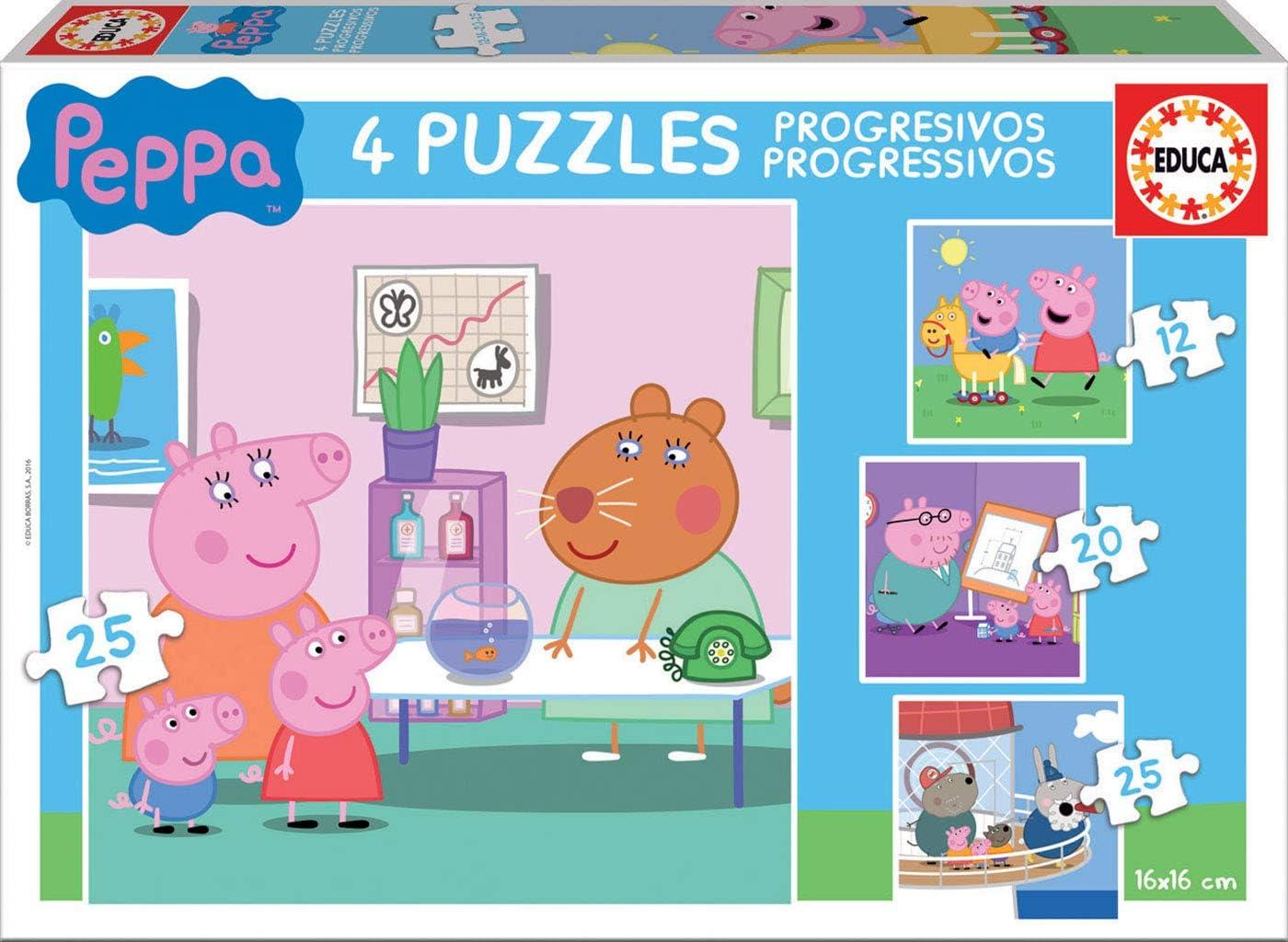 Peppa Pig - Puzzle progresivo, 12, 20 y 25 piezas (Educa Borrás 16817) , color/modelo surtido