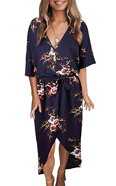 6499f6defc73 ECOWISH Womens Boho Dresses Floral Print V Neck Short Sleeve Split Casual  Dress with Belt Blue