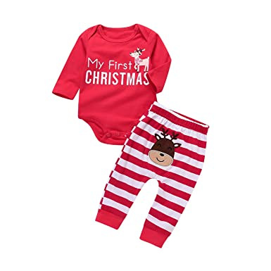 bb175b55cb8 Amazon.com  AlwaysFun Baby Unisex Xmas 2Pcs Outfit Set My First Christmas  Rompers with Deer Print+Striped Pants  Clothing
