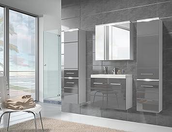 Badezimmer Badmöbel Toledo XL LED 60 Cm Waschbecken Hochglanz Grau Fronten    Unterschrank 2x Hochschrank Waschtisch