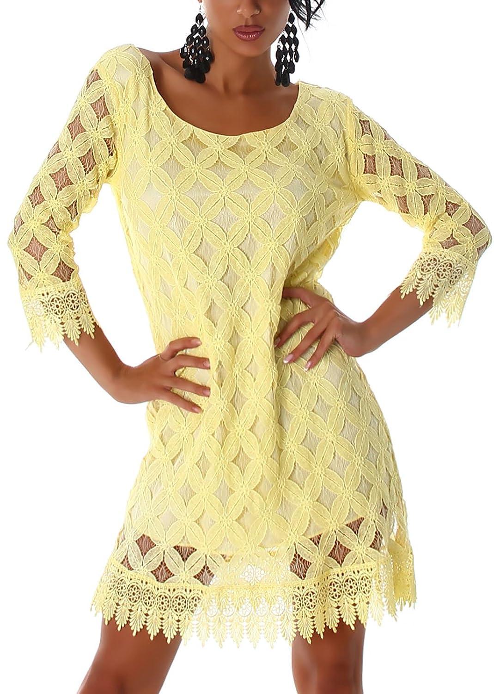 Damen Kleid Minikleid mit 3/4 Arm und Spitzen-Muster in den Größen 36/38 und 38/40 erhältlich