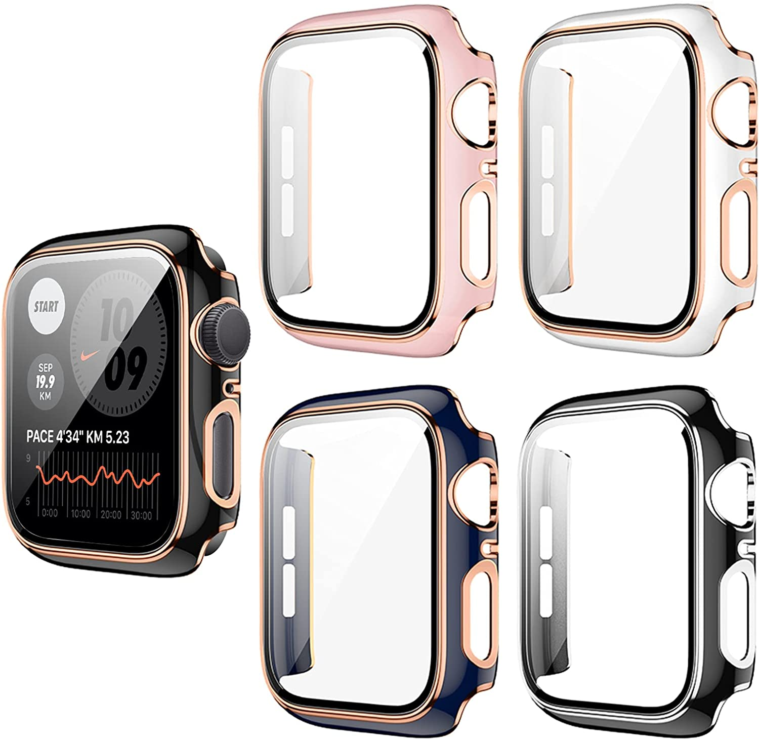 5 Pack Apple Watch Case with Tempered Glass Screen Protector for Apple Watch 42mm Series 3/2/1, Haojavo New Hard PC Ultra-Thin Scratch Resistant Bumper HD Protective Cover for iWatch Accessories