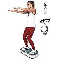 Sportstech Plate-Forme vibrante VP200 Technologie Oscillation Bluetooth, Sangles Cordes de Traction Télécommande, Haut-parleurs Intégrés Plateforme oscillatoire Massage