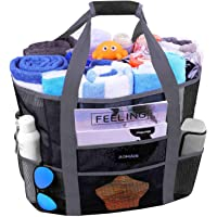 Mesh Beach Bags and Totes, AOMAIS MAX Capacity 30L/150lbs Durable Toy Tote Bag with Removable Strap& 8 Extra Pockets…