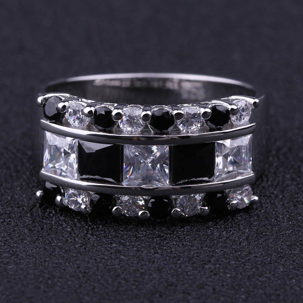 ANGG Plata esterlina 925 Con Negro y Blanco Zirconia c/úbica CZ Anillo de dedo