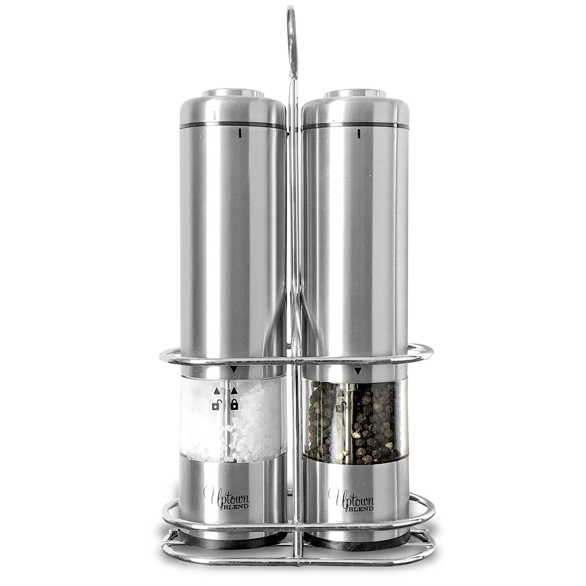 Uptown Blend - Electric Stainless Steel Salt and Pepper Grinder Set - Battery Operated Salt&Pepper Mills with Stand - Automatic Power Shakers - 2 Ceramic Adjustable Coarse Grinders with LED Light