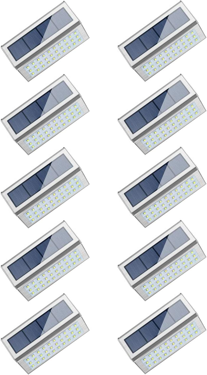 ROSHWEY Solar Deck Lights Outdoor 30 LED Stainless Steel Step Lamps Waterproof Security Lights for Stairs Fence Pathway Wall (Pack of 10, Cool White Light)