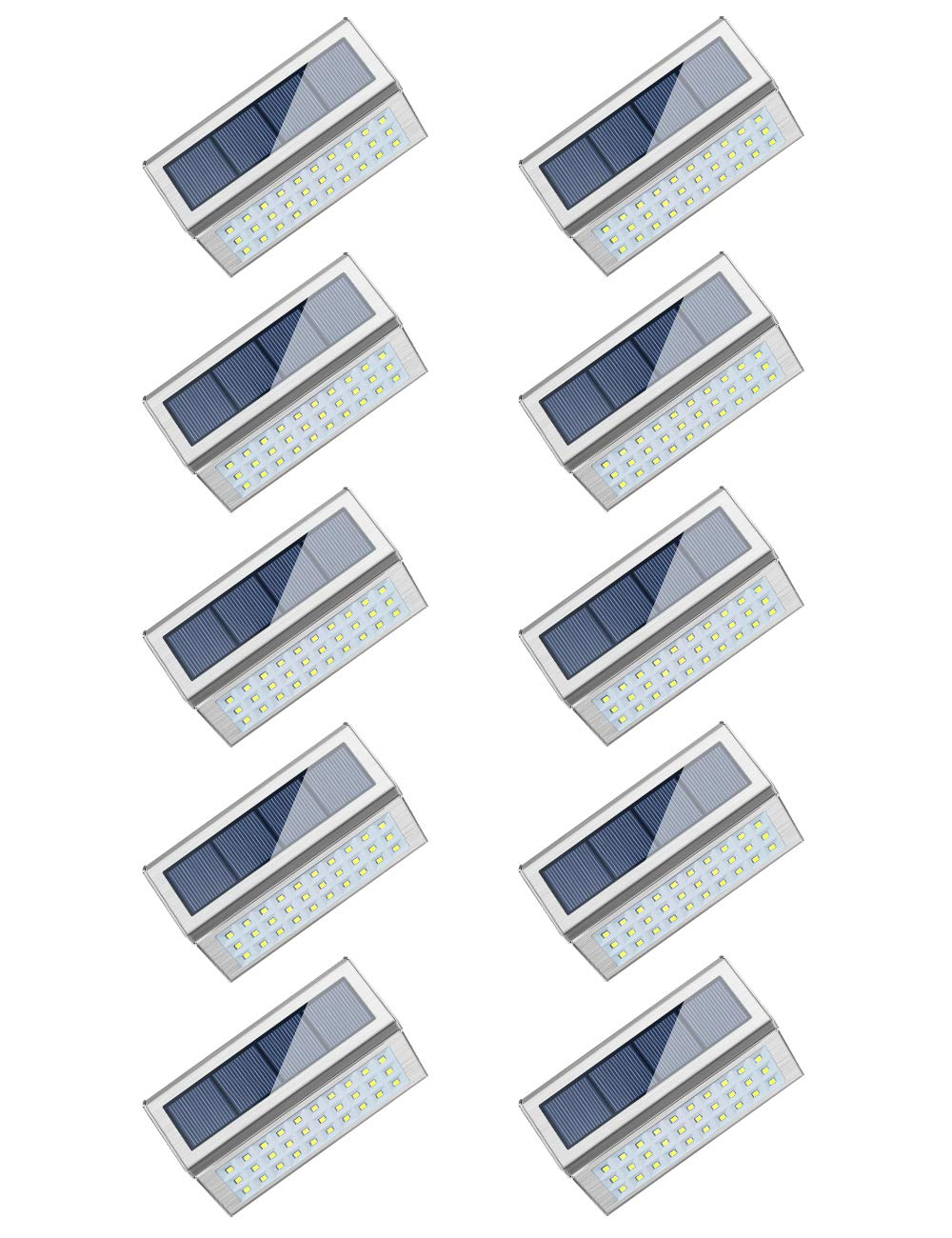 ROSHWEY Solar Deck Lights Outdoor 30 LED Stainless Steel Step Lamps Waterproof Security Lights for Stairs Fence Pathway Wall (Pack of 10, Cool White Light) by ROSHWEY