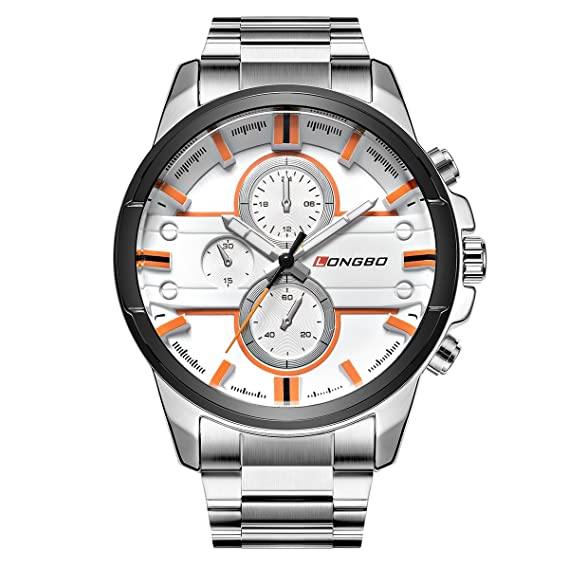 9c98faa75 LONGBO Men's Unique Big Face Analog Quartz Watch Silver Stainless Steel  Band Business Wrist Watches Sportive