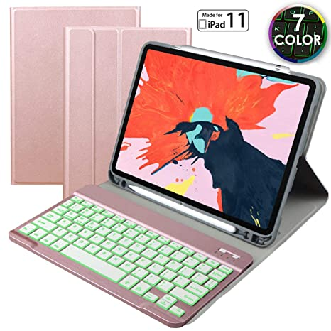 promo code a6bb7 4b6b8 eoso Keyboard case for Apple iPad Pro 11 2018 with 7 Color Backlight  Keyboard,Removable Magnet Bluetooth Keyboard Built-in Pencil Holder (for  iPad 11, ...