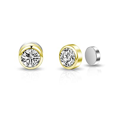 c494358d3 Gold Magnetic Clip On Earrings with Crystals from Swarovski®: Amazon.co.uk:  Jewellery
