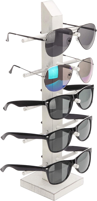 Tabletop Retail Eyewear Rack MyGift Vintage White Wood 5-Pair Sunglasses Display Stand