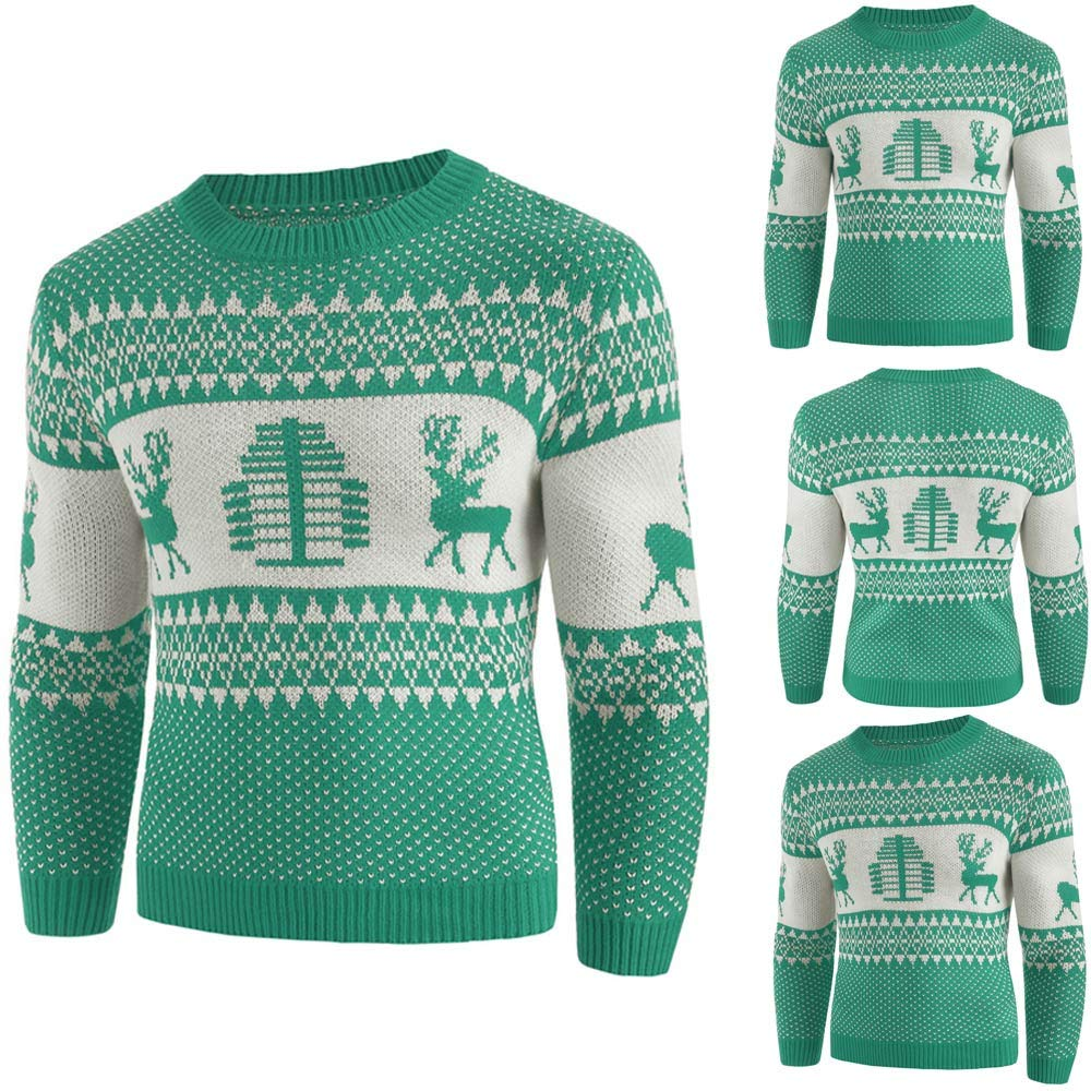 iFOMO 2018 Winter Chic Christmas Elk Print Casual O-Neck Pullover Sweater for Men