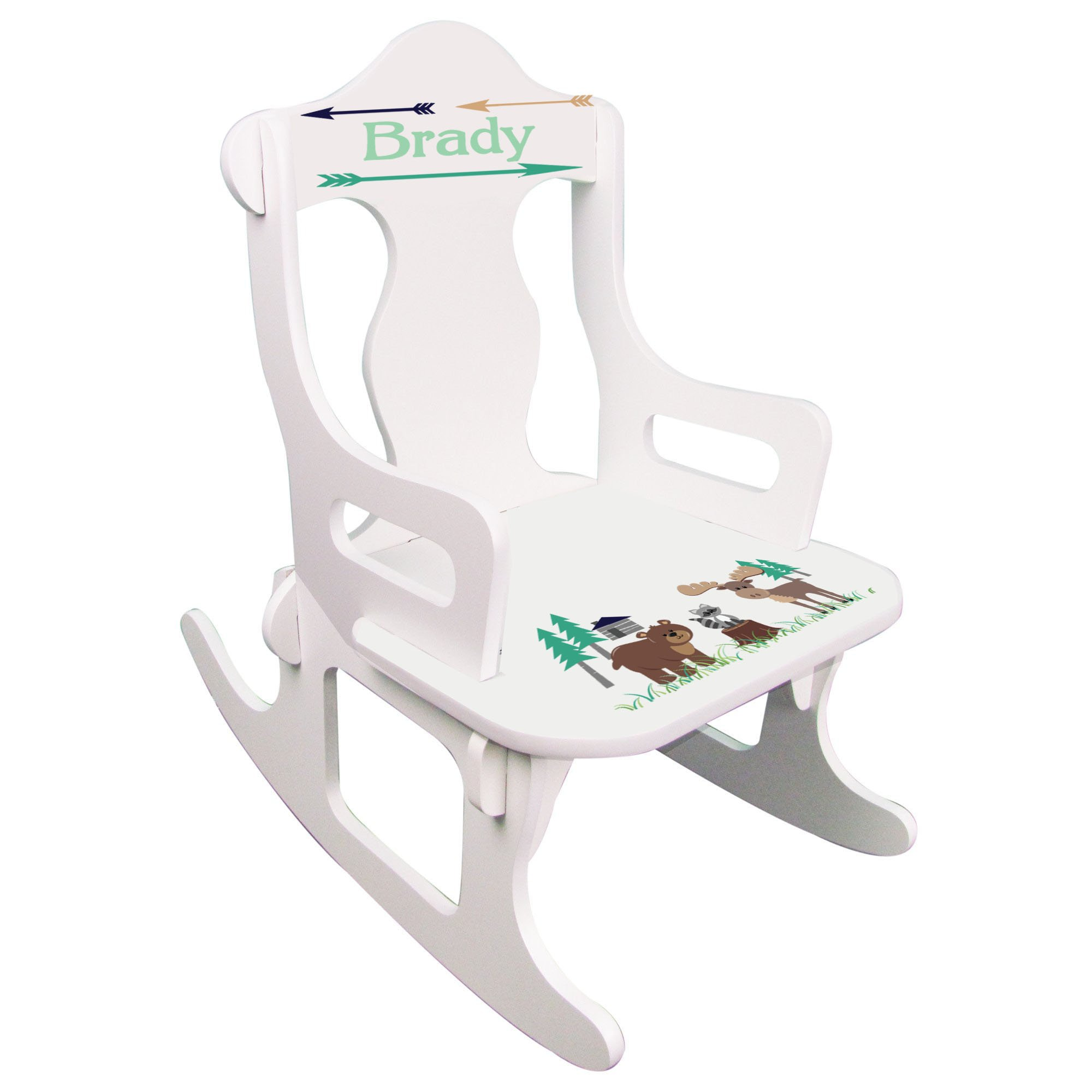 Personalized North Woodland Critters Puzzle Rocker