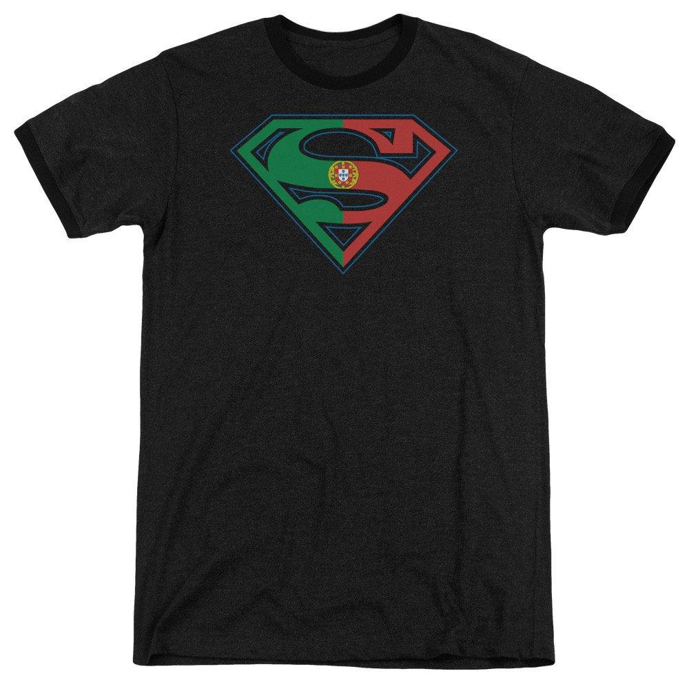 Sons of Gotham Superman Portugal Shield Adult Ringer T Shirt M