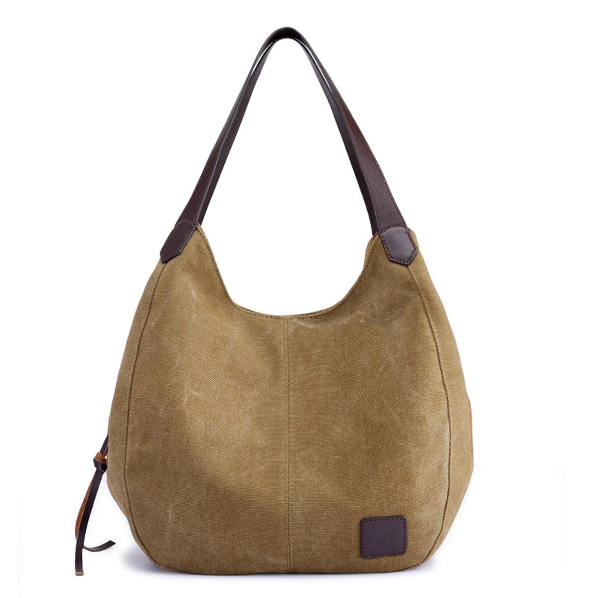 Hiigoo Fashion Women's Multi-pocket Cotton Canvas Handbags Shoulder Bags Totes Purses (Khaki)