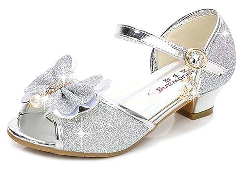 259e8e411 YOGLY Sandales Ceremonie Fille, Chaussure à Talon Enfant Ballerine ...