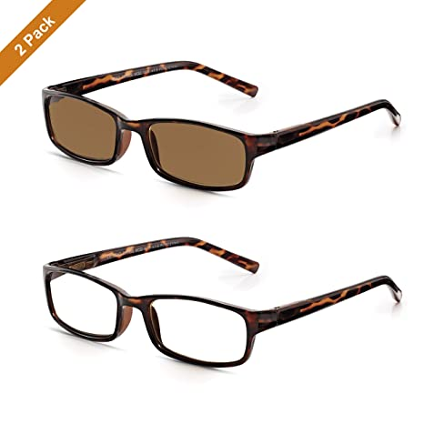 Gafas READ OPTICS de Lectura Transparentes + de Sol Graduadas para Ver de Cerca 100% Protección UV | Montura Completa Tortoise Marrón | Lentes para ...