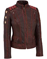 Urbanoutfitters Women's Distressed Ox Blood Cafe Racer Vintage Shoulder and Sleeves