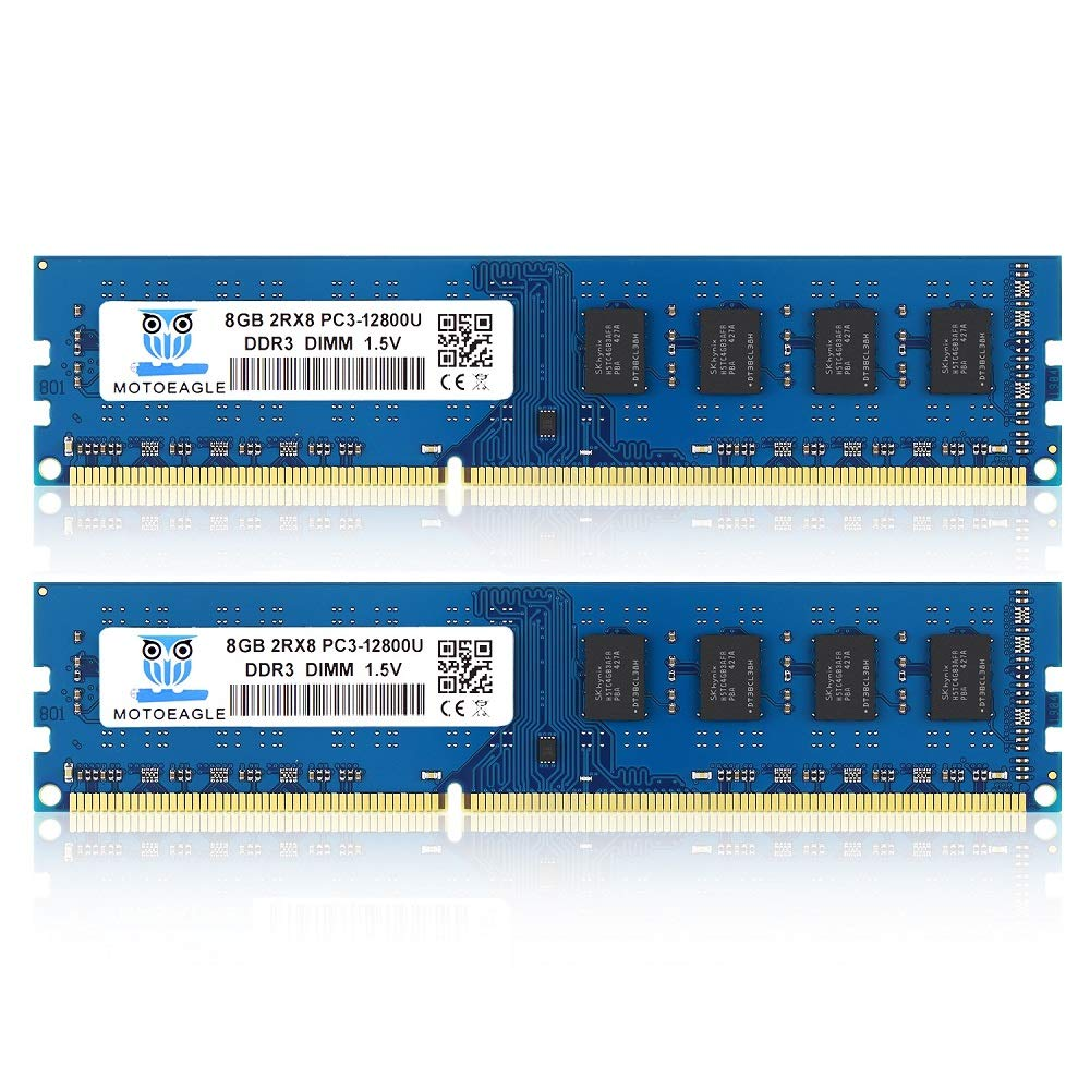Memoria RAM 16GB Motoeagle Kit (2x8GB) PC3 12800U DDR3 1600 UDIMM 2RX8 Dual Rank Non ECC Unbuffered 1.5V Computer