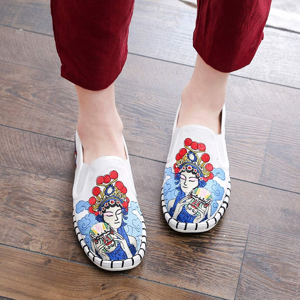 Womens Loafers /& Slip-Ons Embroidery Printed Flat Casual Shoes Comfort Penny Walking Shoes Soft-Soled Boat Shoes Snakers