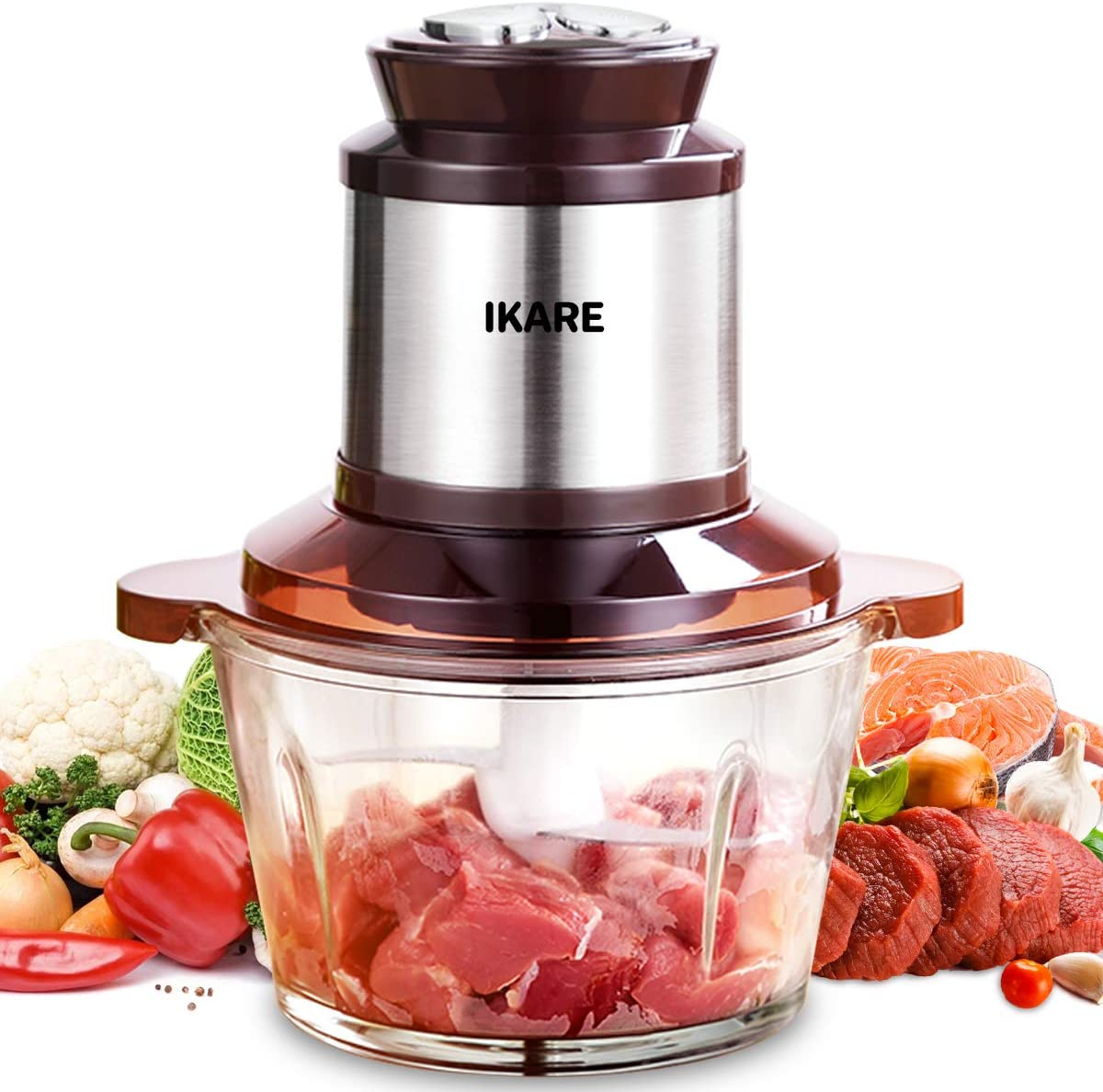 IKARE Electric Food Processor Food Chopper, Meat processor, High Capacity 8-cup 2L BPA-Free Glass Bowl Grinder for Meat, Vegetables, Fruits and Nuts, Stainless Steel Motor Unit and 4 Sharp Blades