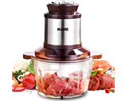 Electric Food Chopper 8-cup Food Processor, Meat processor, High Capacity 2L BPA-Free Glass Bowl Grinder for Meat, Vegetables