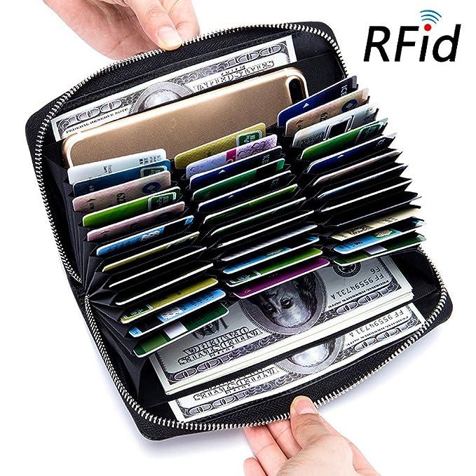 Amazon.com: Tarjeta de RFID portafolios cartera de piel ...