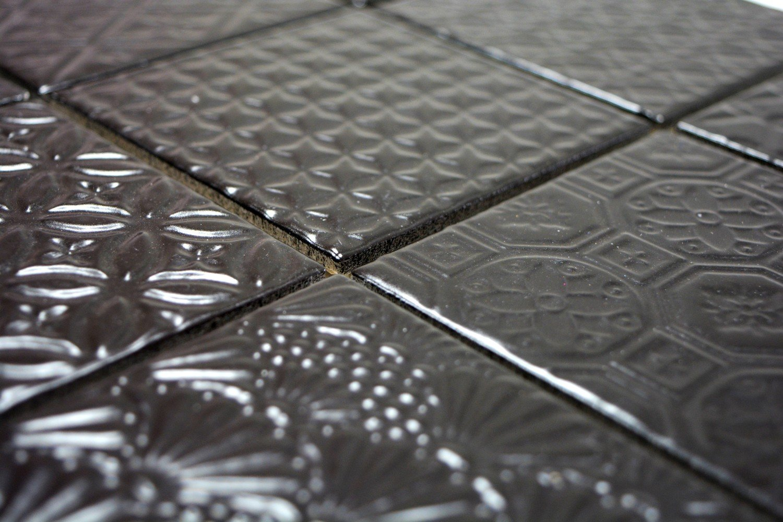 Retro Vintage Mosaik Fliese Keramik schwarz Spirit schwarz f/ür WAND BAD WC DUSCHE K/ÜCHE FLIESENSPIEGEL THEKENVERKLEIDUNG BADEWANNENVERKLEIDUNG WB22B-1403