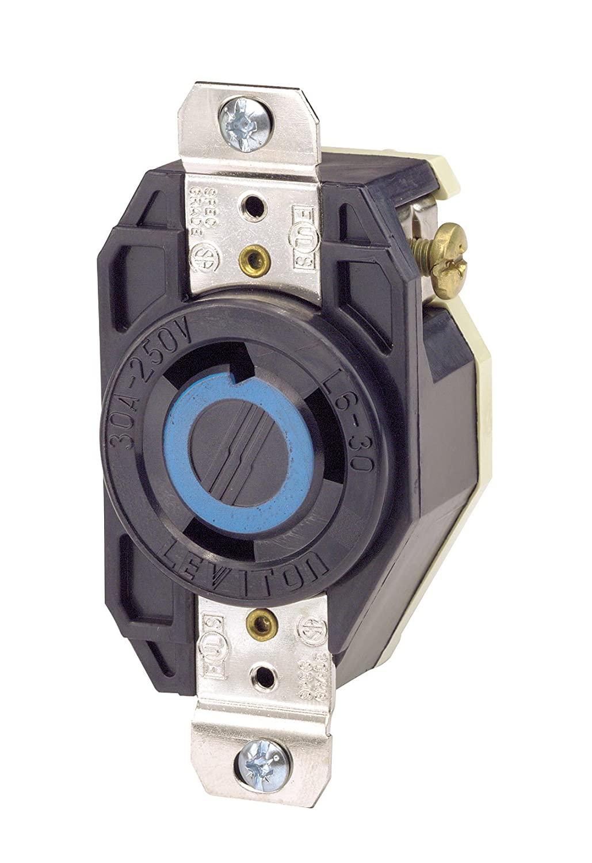 Leviton 2620 30 Amp, 250 Volt, Flush Mounting Locking Receptacle, Industrial Grade, Grounding, V-0-MAX Black