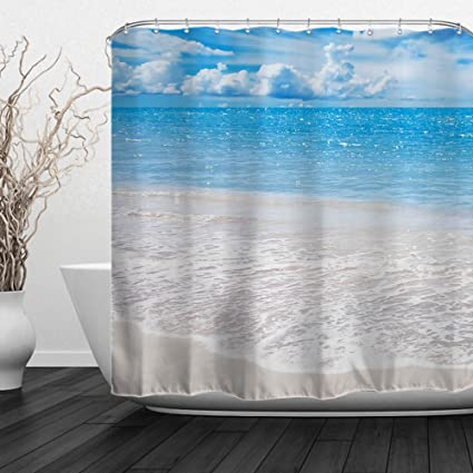 ALFALFA Home Bathroom Decorative Polyester Fabric Printed Sea Beach Theme Shower Curtain With Hooks Waterproof