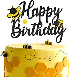 Glitter Bee Happy Birthday Cake Topper, Happy Bee Day Cake Decor, Honey Bee Themed Birthday Party Supplies, Garden Bugs Party Centerpiece