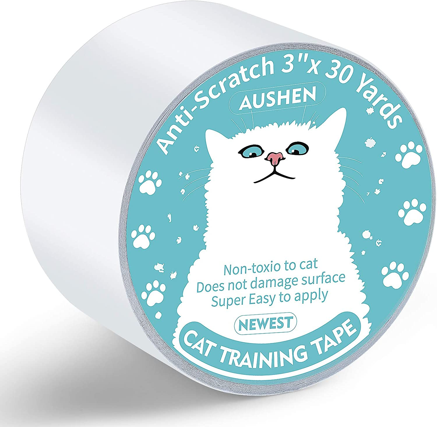 AUSHEN Anti Cat Scratch Tape,3 inches x 30 Yards Cat Training Tape,Cat Scratch Deterrent Sticky Paws Tape Furniture Protector Transparent Clear Double Sided Guards for Carpet, Sofa, Couch, Door