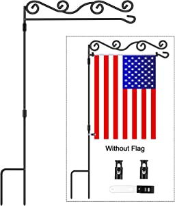 "Garden Flag Stand - Floral Style, BONWIN Garden Yard Flag Pole Holder Stands, Powder Coated Weather-Proof Paint Metal Flagpole with Spring Stoppers & Anti-Wind Clip for Garden Lawn - 36.6""H x 16.14""W"
