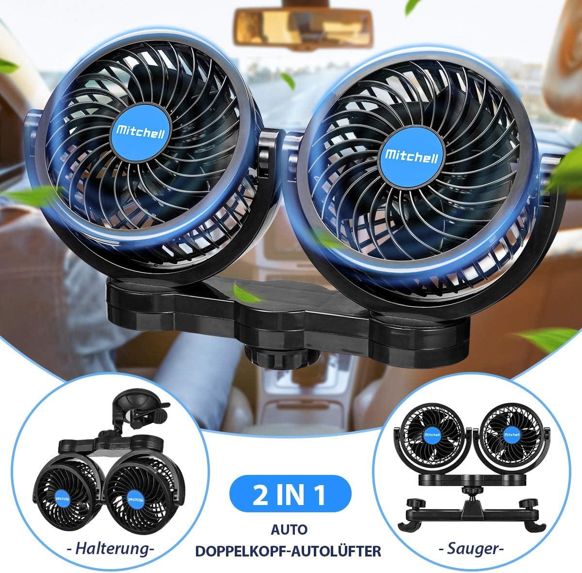 Amazon.es: ISSYZONE - Ventilador doble para coche con encendedor de cigarrillos de 12 V, dos métodos de instalación, velocidad giratoria para vehículos, camiones, asiento trasero